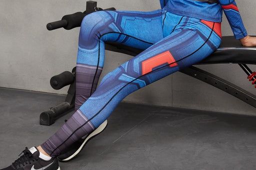08eb673845456 Captain America Cool Design Compression Women Cosplay Workout Leggings -  Superheroes Gears