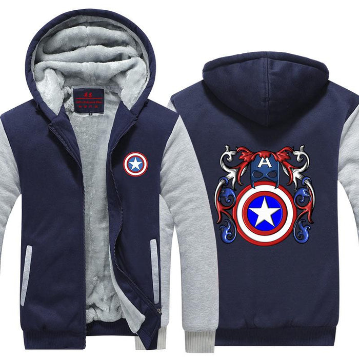 Captain America Crossing Harley Quinn Symbol Hooded Jacket - Superheroes Gears