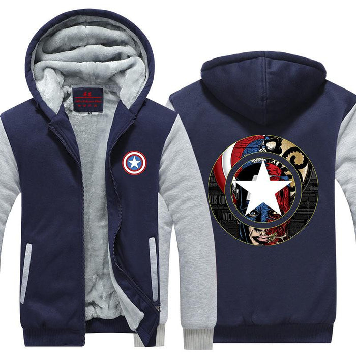 Captain America Crossing Hydra Red Skull 3D Hooded Jacket - Superheroes Gears