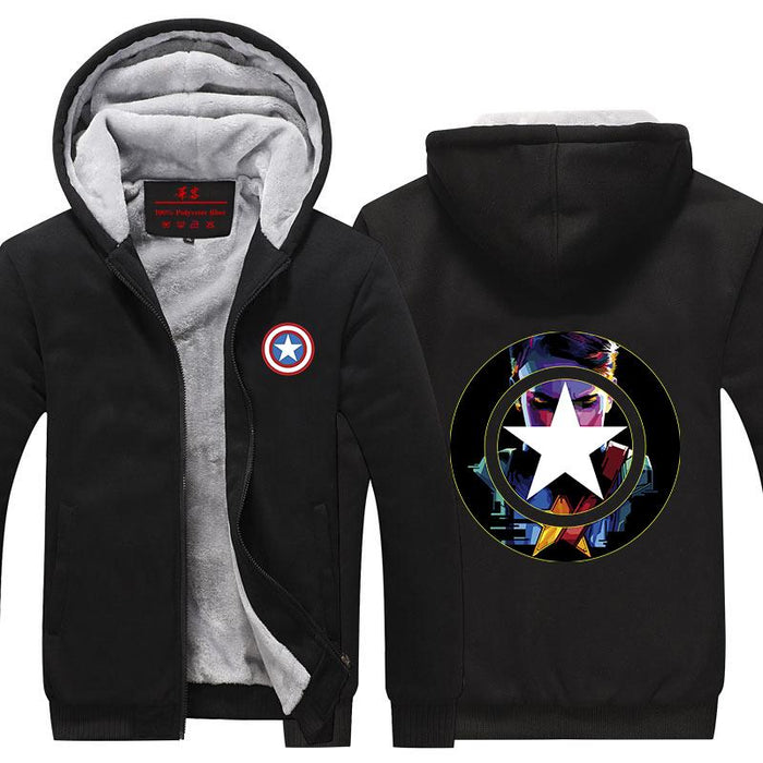 Captain America Portrait Civil War Poster Hooded Jacket - Superheroes Gears