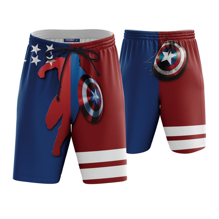 Captain America Shield Red Blue Boardshorts Swim Trunks - Superheroes Gears