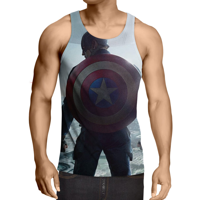 Captain America Standing With His Shield Awesome Tank Top
