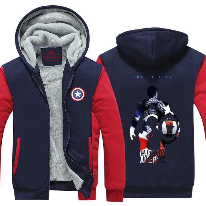 Captain America The Patriot Hero Cool Print Hooded Jacket - Superheroes Gears