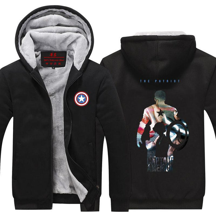 Captain America The Patriot Hero Portrait Hooded Jacket - Superheroes Gears