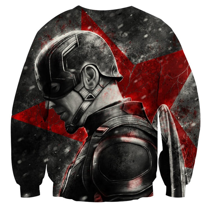 Captain America Vintage Side Pose Cool Portrait Sweatshirt