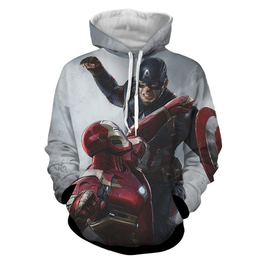 Captain America Vs Ironman on White Full Print Hoodie