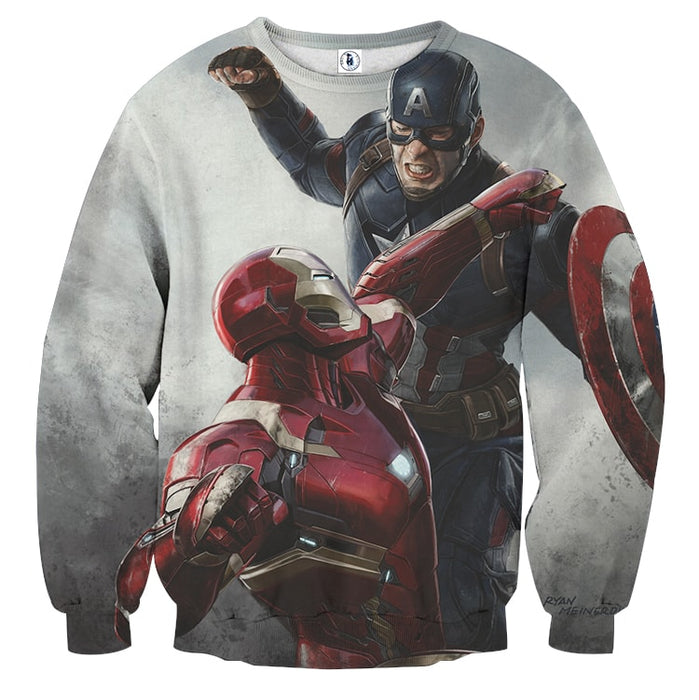 Captain America Vs Ironman on White Full Print Sweatshirt
