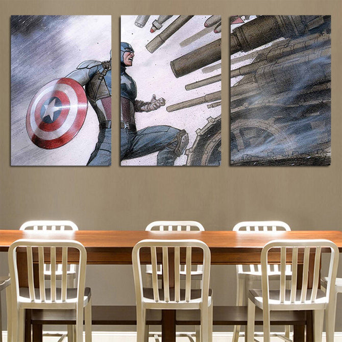 Captain America Vs Massive Weapons & Tanks 3pcs Canvas Print