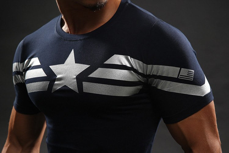 Captain America Winter Soldier Compression 3D Short Sleeves T-Shirt - Superheroes Gears