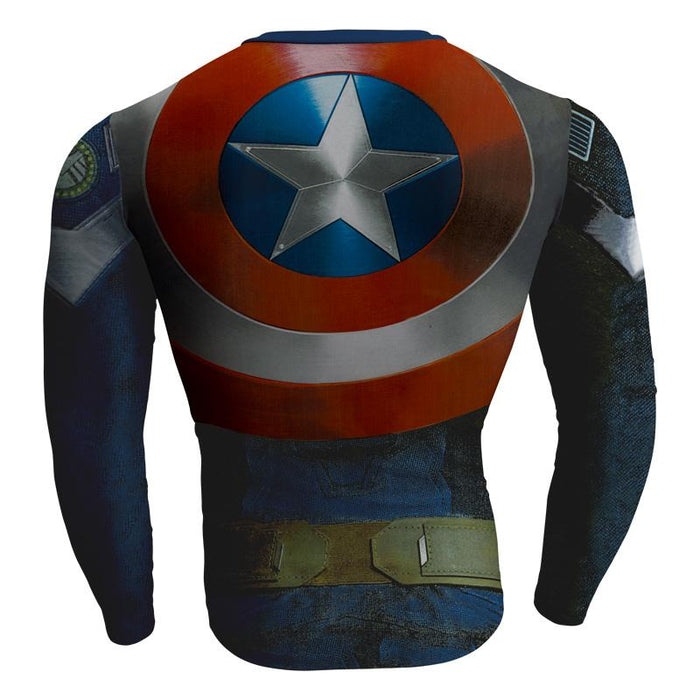 Captain America Winter Soldier Long Sleeves Compression T-shirt - Superheroes Gears