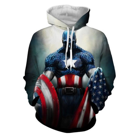Captain America With Shield And Flag Paint Art Design Hoodie