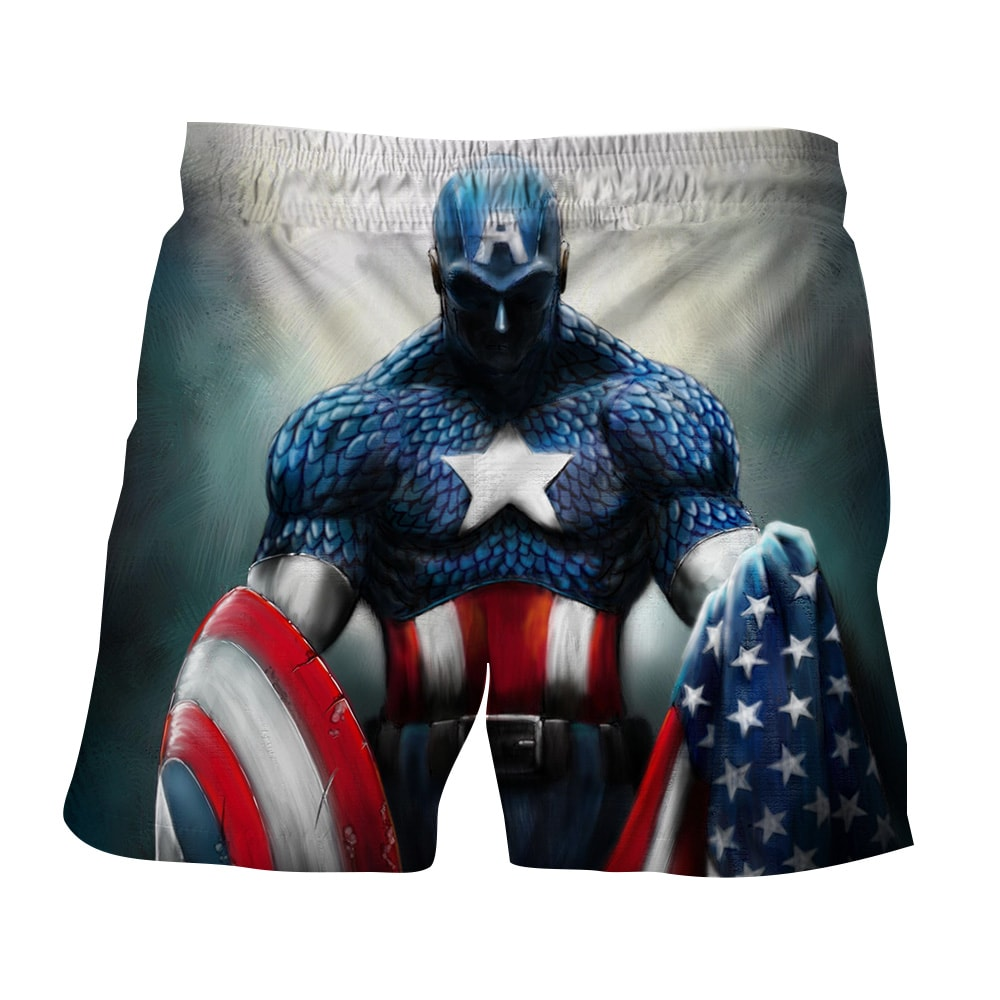 f02c6e7acfc14 Captain America With Shield And Flag Paint Art Design Boardshorts — Superheroes  Gears