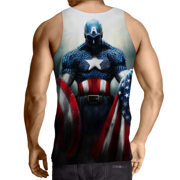 Captain America With Shield And Flag Paint Art Design Tank Top