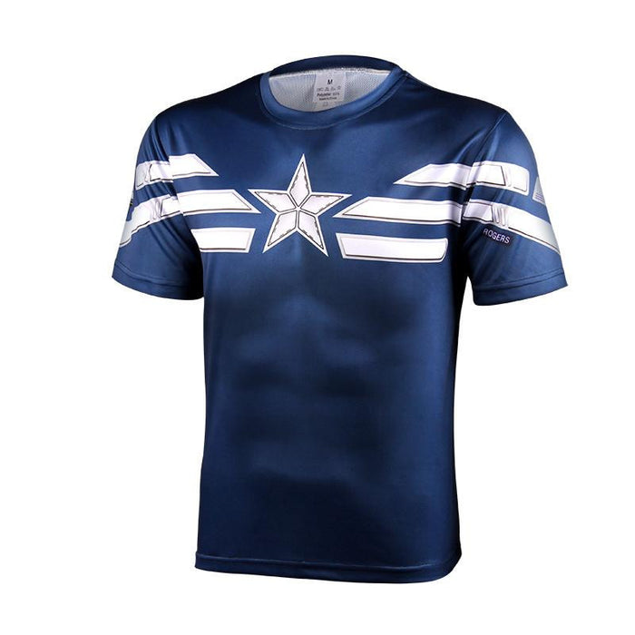 Captain America Winter Soldier Edition Costume Cool Fitness Design T-shirt - Superheroes Gears