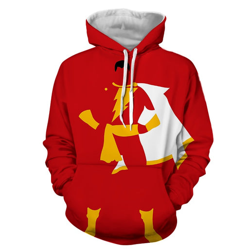 Captain Marvel Shazam Superhero Simple Minimalist Red Hoodie