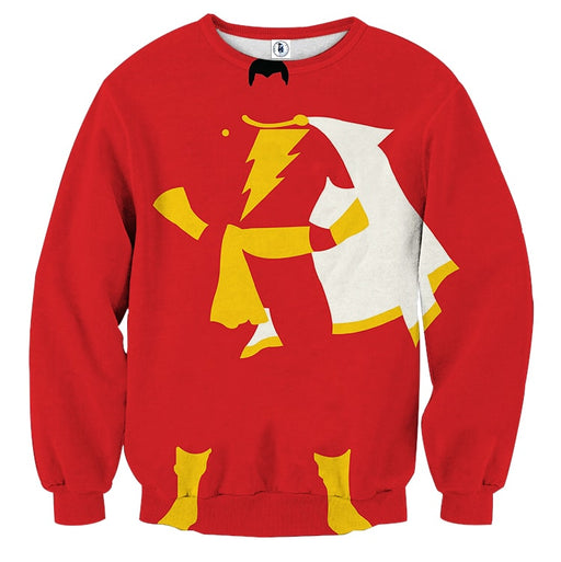 Captain Marvel Shazam Superhero Simple Minimalist Red Sweatshirt