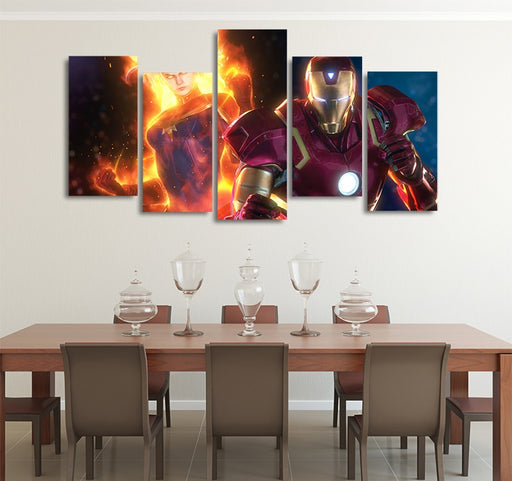 Captain Marvel & Iron Man Design 5pcs Wall Art Canvas Print