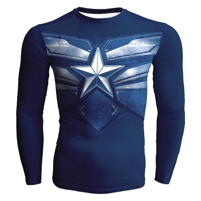 Captain America Dope Design Long Sleeves Compression T-shirt - Superheroes Gears