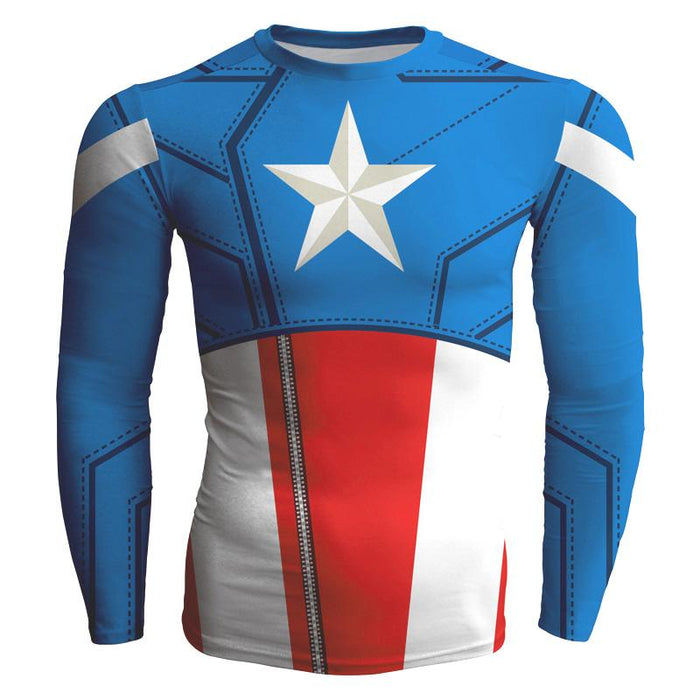 Captian America Long Sleeves Workout Classic Design T-shirt - Superheroes Gears