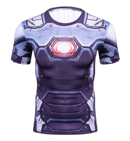 3D Printed Compression Iron Man War Machine Short Sleeves Fitness T-shirt