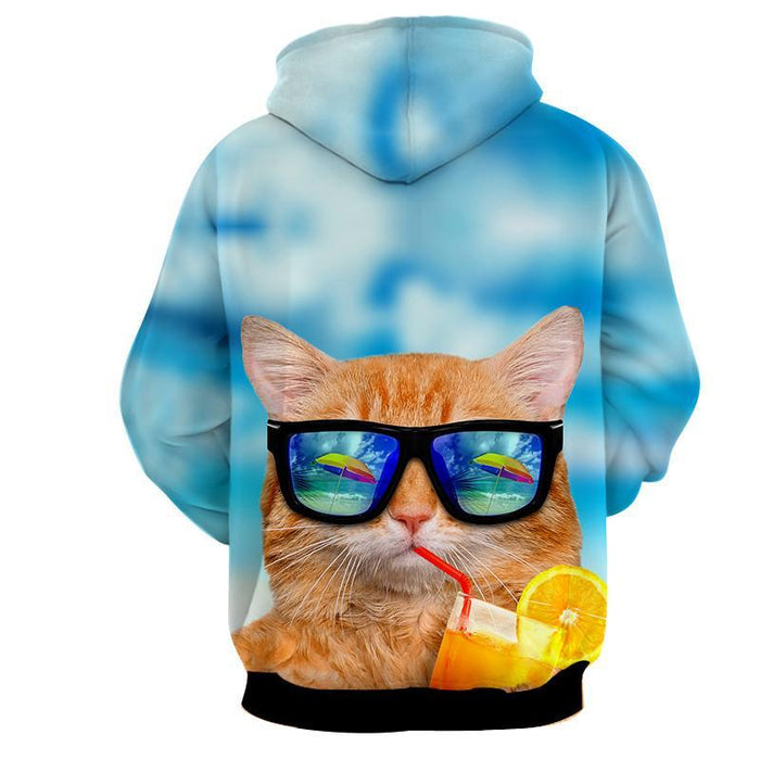 Cat Face Sunglasses Summer Vibe Stylish Dope Hoodie - Superheroes Gears