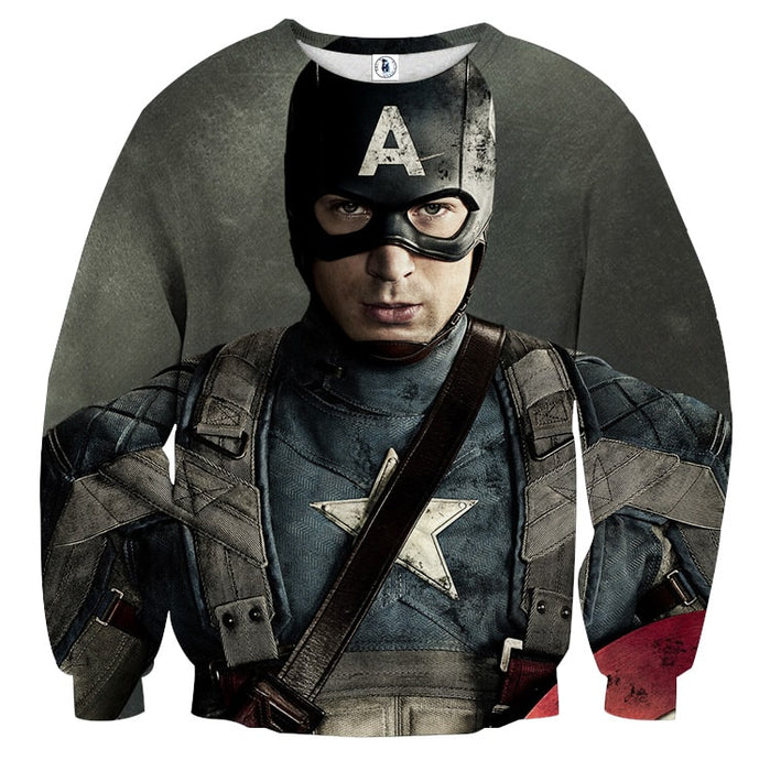 Chris Evans Captain America Realistic Portrait Sweatshirt