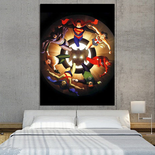 Circle Of Superheroes Justice League 1pcs Canvas Print