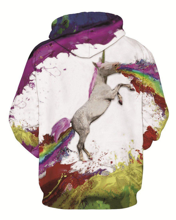 Colorful Painting Rainbow Funny Horse Graffiti Outerwear Hoodie - Superheroes Gears