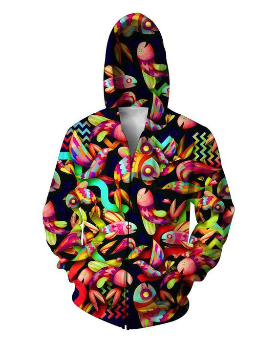 Colorful Small Fish and Birds Artwear Illustration Graphic 3D Hoodie - Superheroes Gears