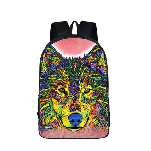 Colorful Timber Wolf Canine Drawing Art School Backpack