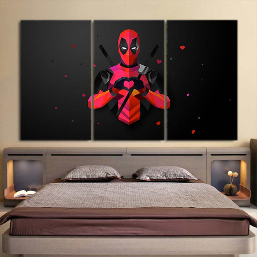 Comic Deadpool In Heart Love Sign 3pcs Wall Art Canvas Print