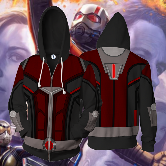 Cool Ant-Man Superhero Armor Suit Full Print Zip Up Hoodie