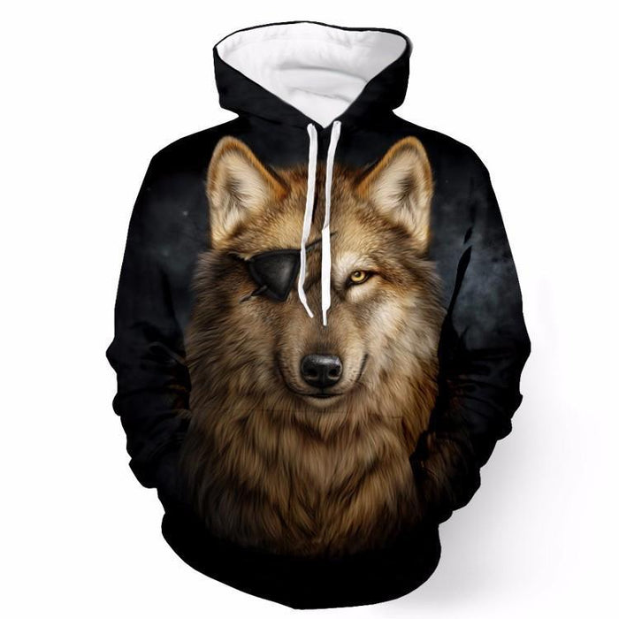 Cool Gray Pirate Wolf Yellow Eyes Wild Animal Stunning 3D Hoodie - Superheroes Gears