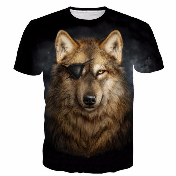 Cool Gray Pirate Wolf Yellow Eyes Wild Animal Stunning T-shirt - Superheroes Gears