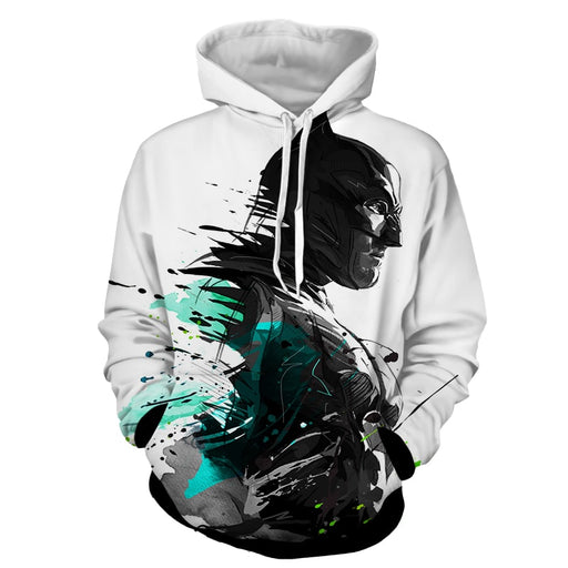 Cool Paint Art Design Batman Print On White Hoodie - Superheroes Gears