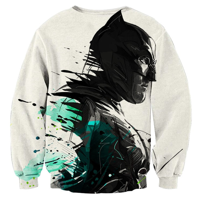 Cool Paint Art Design Batman Print On White Sweatshirt - Superheroes Gears