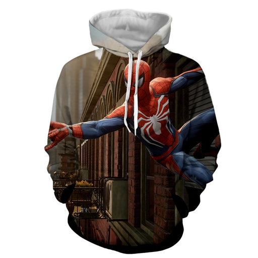 Cool Spider-Man Wall Clinging Design Full Print Hoodie