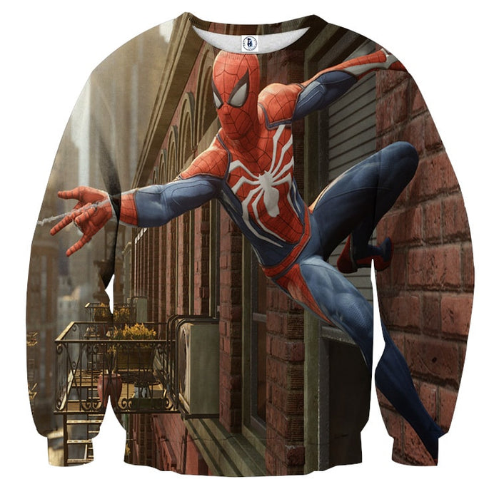 Cool Spider-Man Wall Clinging Design Full Print Sweatshirt