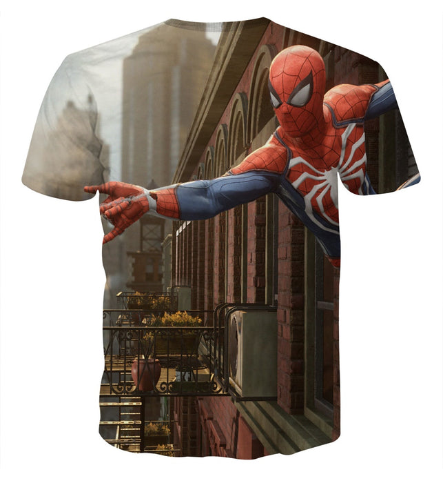 Cool Spider-Man Wall Clinging Design Short Sleeves T-Shirt