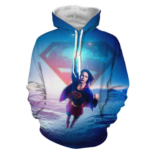 Cool Supergirl Kara Danvers Flying Superheroine Blue Hoodie
