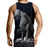 Cool Wolf Yowling Vintage Fan Art Design Black Tank Top