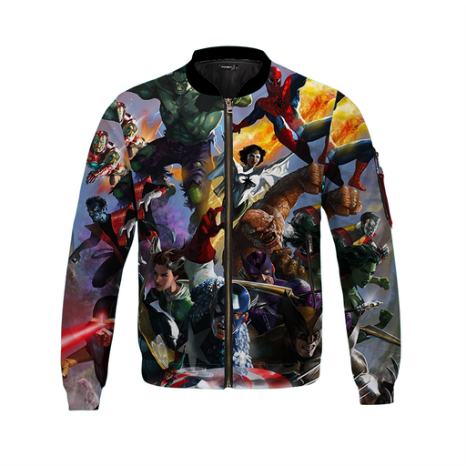 Classic Avengers Team Bomber Jacket Over All Print