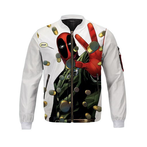 White Awesome Deadpool Bullet Rain Bomber Jacket