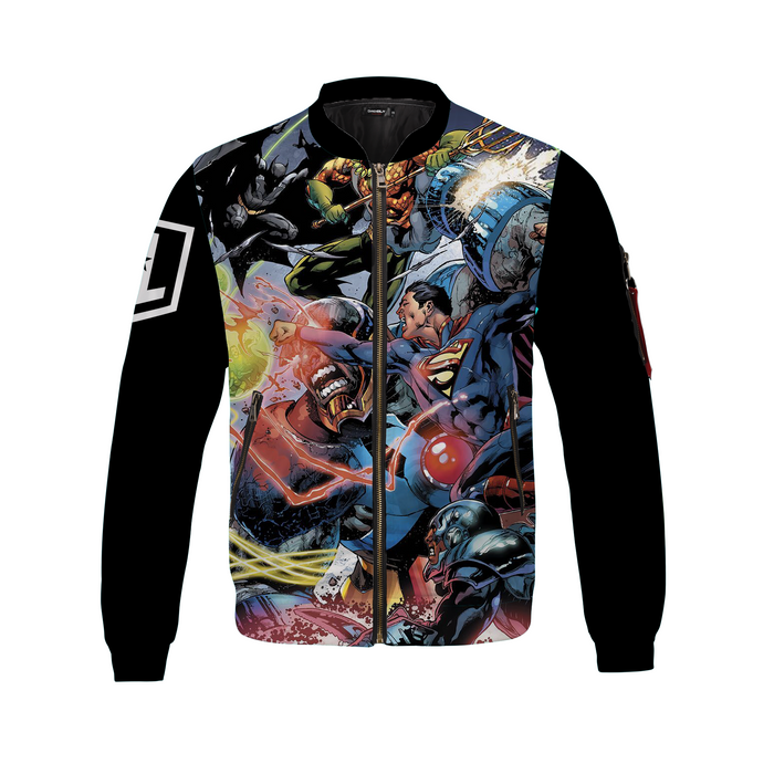 Justice League Team Bomber Jacket Black Logo Sleeves
