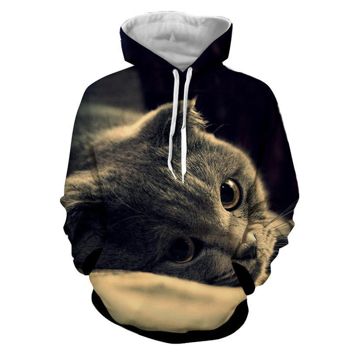 Cute Cat Face Portrait Capturing Image Real Art Hoodie - Superheroes Gears