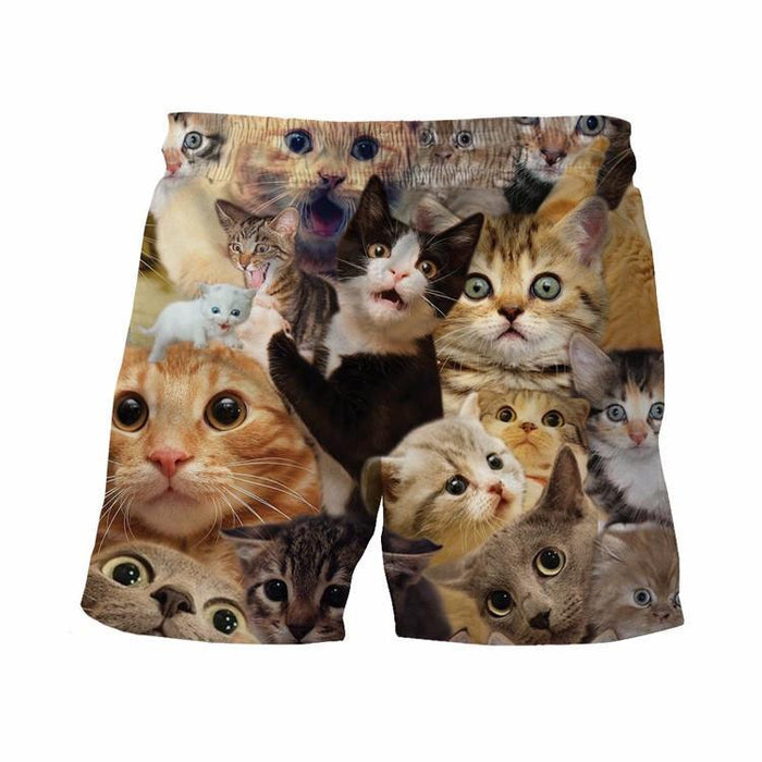Cute Cats Adorable Kitten Mob Full Print Trendy 3D Summer Shorts - Superheroes Gears