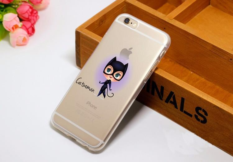 Cute Chibi Catwoman Soft Transparent iPhone X 8 Plus 7 6s Case