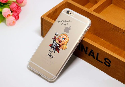 Cute Chibi Thor Soft Transparent iPhone X 8 Plus 7 6s Case - Superheroes Gears