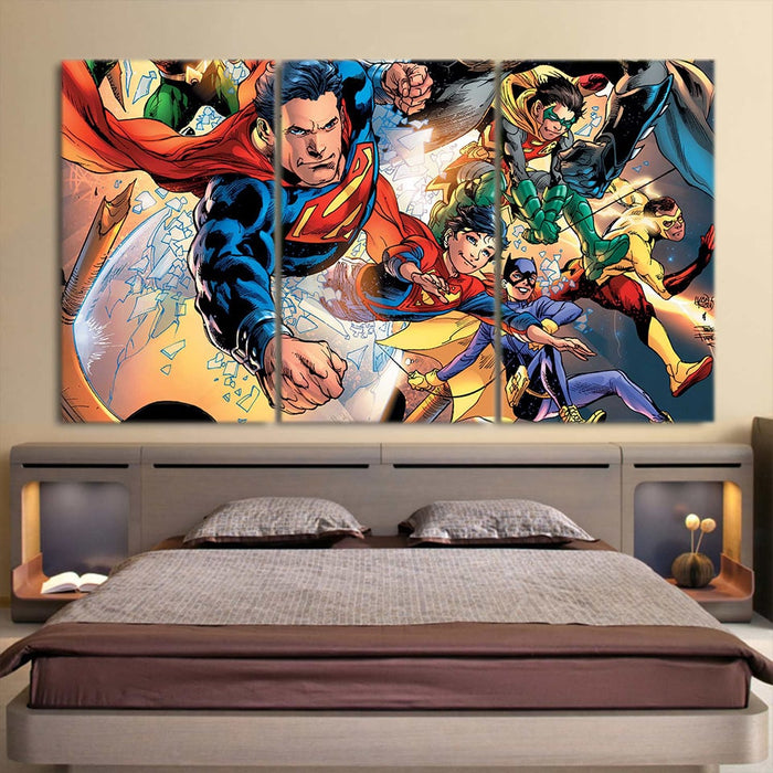 Cute Flying Justice League Superheroes 3pcs Canvas Print