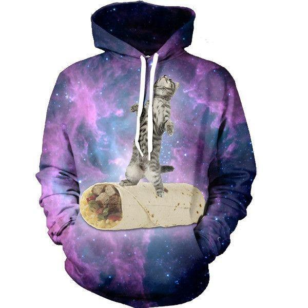Cute Funny Cat Delicious Burrito Surfer Infinity Galaxy Trendy Hoodie - Superheroes Gears